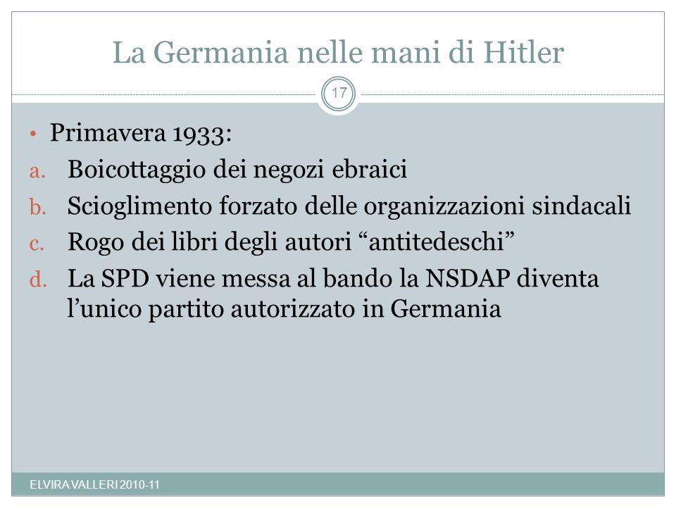 La Germania nelle mani di Hitler ELVIRA VALLERI 2010-11 17 Primavera 1933: a. Boicottaggio dei negozi ebraici b. Scioglimento forzato delle organizzaz