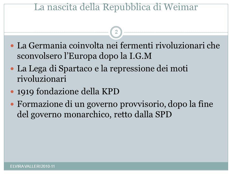 La nascita della Repubblica di Weimar ELVIRA VALLERI 2010-11 2 La Germania coinvolta nei fermenti rivoluzionari che sconvolsero lEuropa dopo la I.G.M