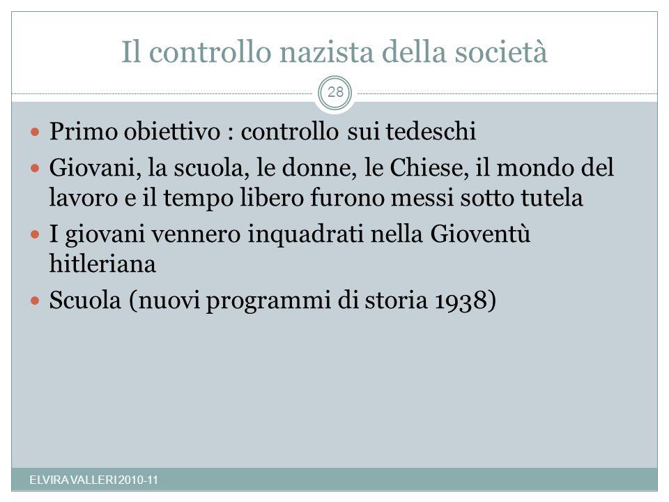 Il controllo nazista della società ELVIRA VALLERI 2010-11 28 Primo obiettivo : controllo sui tedeschi Giovani, la scuola, le donne, le Chiese, il mond