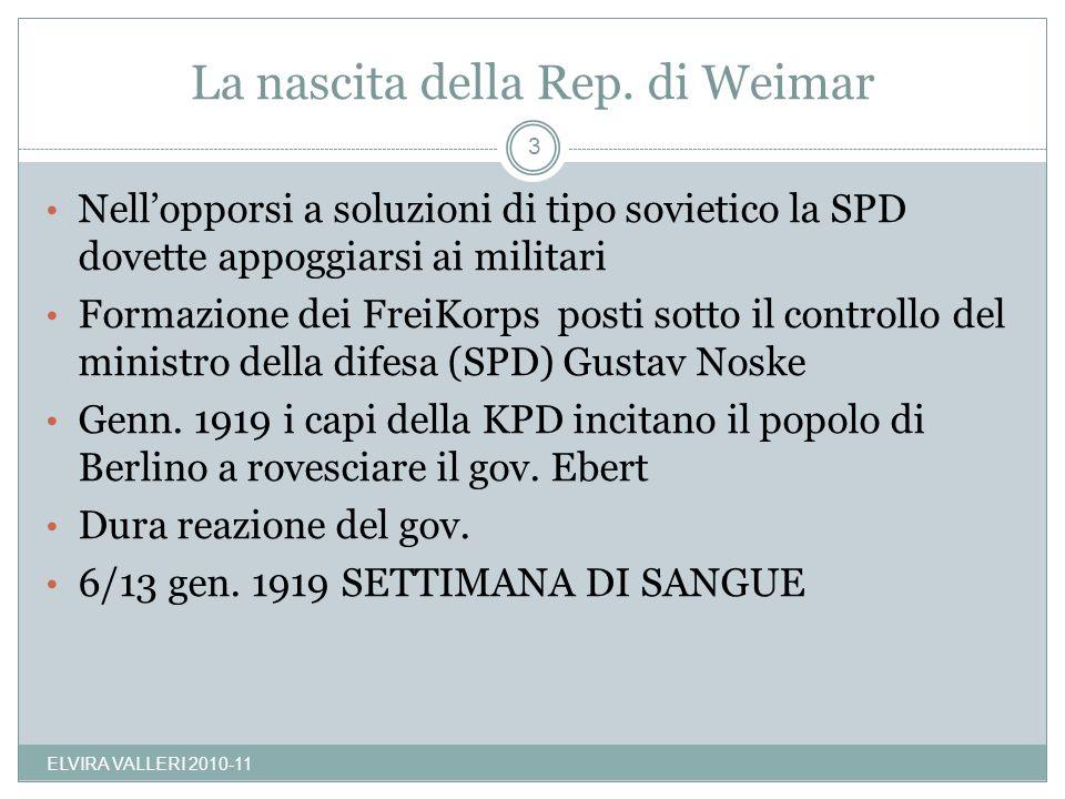La nascita della Rep. di Weimar ELVIRA VALLERI 2010-11 3 Nellopporsi a soluzioni di tipo sovietico la SPD dovette appoggiarsi ai militari Formazione d