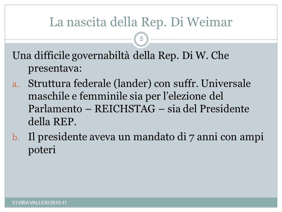 La nascita della Rep. Di Weimar ELVIRA VALLERI 2010-11 5 Una difficile governabiltà della Rep. Di W. Che presentava: a. Struttura federale (lander) co