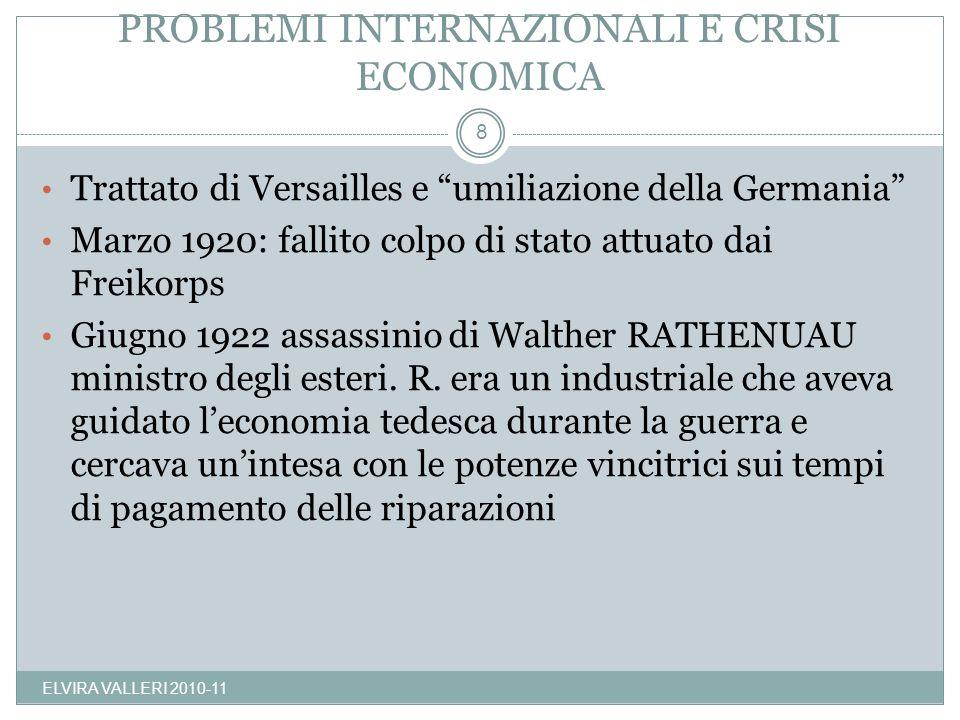 PROBLEMI INTERNAZIONALI E CRISI ECONOMICA ELVIRA VALLERI 2010-11 8 Trattato di Versailles e umiliazione della Germania Marzo 1920: fallito colpo di st
