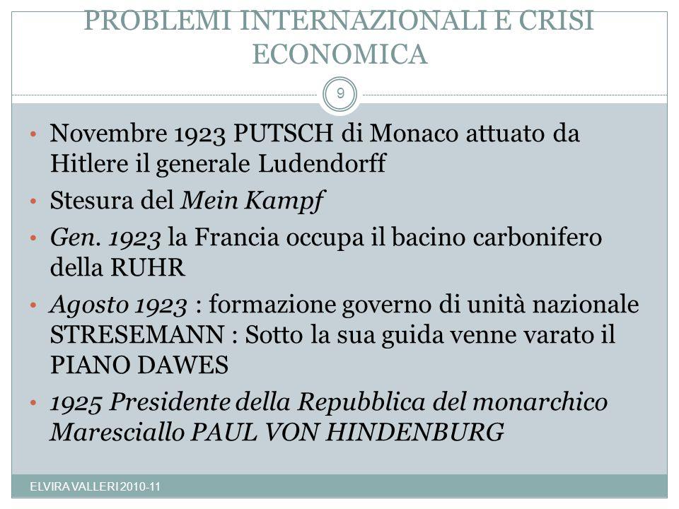 PROBLEMI INTERNAZIONALI E CRISI ECONOMICA ELVIRA VALLERI 2010-11 9 Novembre 1923 PUTSCH di Monaco attuato da Hitlere il generale Ludendorff Stesura de