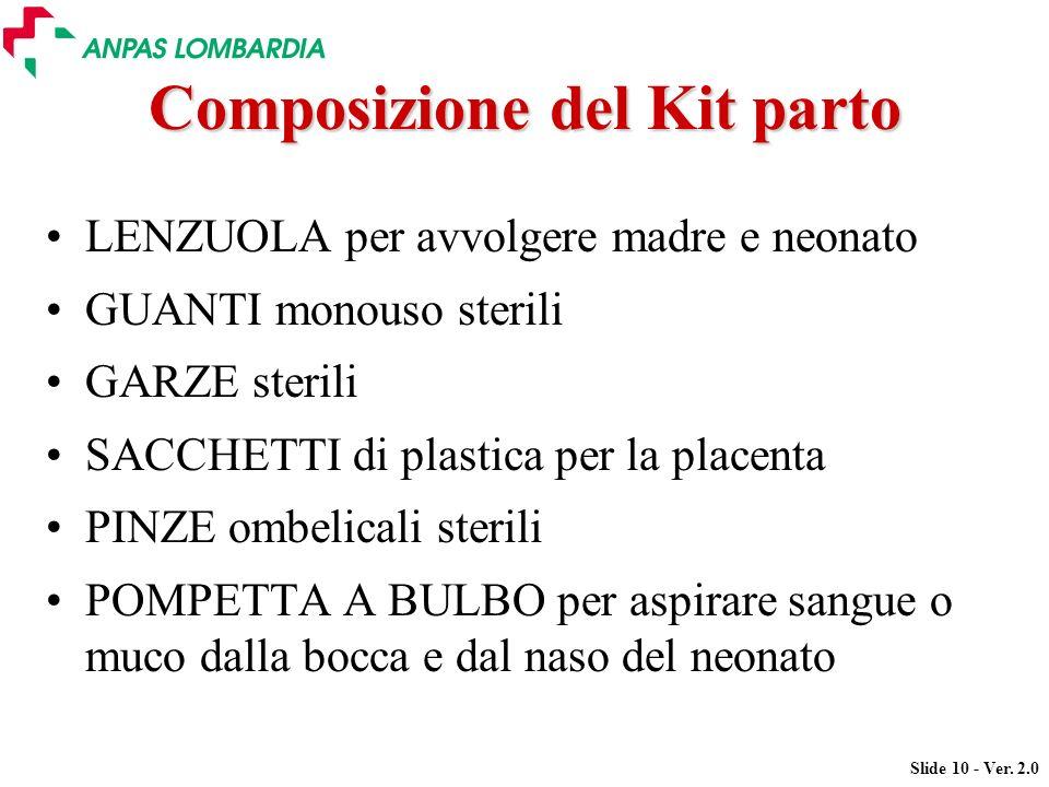 Slide 10 - Ver. 2.0 Composizione del Kit parto LENZUOLA per avvolgere madre e neonato GUANTI monouso sterili GARZE sterili SACCHETTI di plastica per l