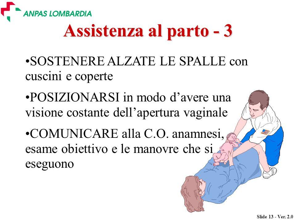 Slide 13 - Ver. 2.0 SOSTENERE ALZATE LE SPALLE con cuscini e coperte POSIZIONARSI in modo davere una visione costante dellapertura vaginale COMUNICARE