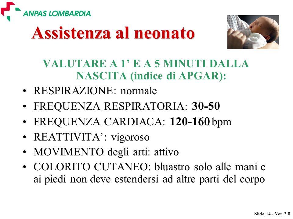 Slide 14 - Ver. 2.0 Assistenza al neonato VALUTARE A 1 E A 5 MINUTI DALLA NASCITA (indice di APGAR): RESPIRAZIONE: normale FREQUENZA RESPIRATORIA: 30-
