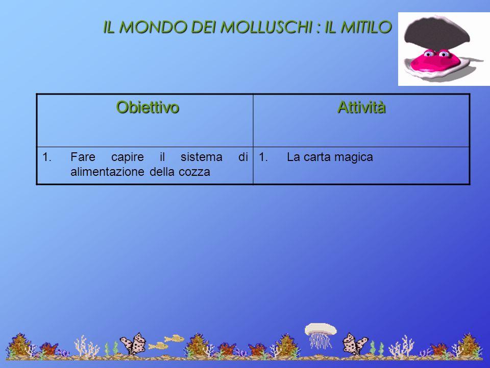 IL MONDO DEI MOLLUSCHI : IL MITILO Obiettivo ObiettivoAttività 1.Fare capire il sistema di alimentazione della cozza 1.La carta magica
