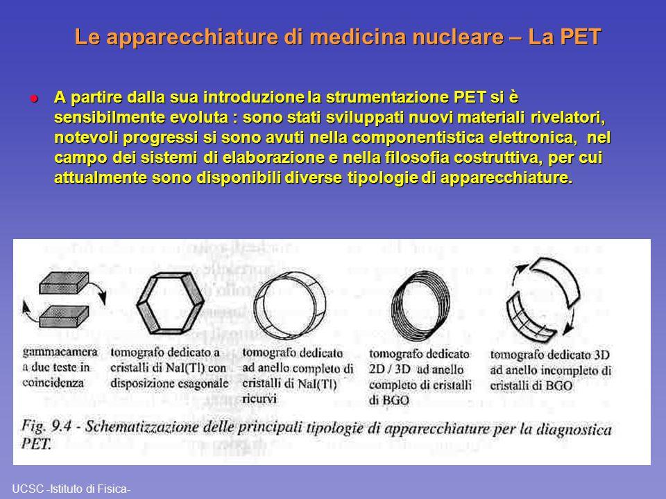 UCSC -Istituto di Fisica- Le apparecchiature di medicina nucleare – La PET l A partire dalla sua introduzione la strumentazione PET si è sensibilmente