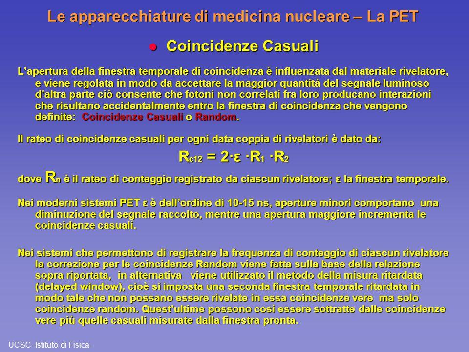 UCSC -Istituto di Fisica- Le apparecchiature di medicina nucleare – La PET l Coincidenze Casuali Lapertura della finestra temporale di coincidenza è i