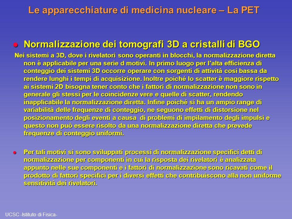 UCSC -Istituto di Fisica- Le apparecchiature di medicina nucleare – La PET l Normalizzazione dei tomografi 3D a cristalli di BGO Nei sistemi a 3D, dov