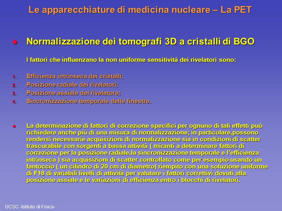 UCSC -Istituto di Fisica- Le apparecchiature di medicina nucleare – La PET l Normalizzazione dei tomografi 3D a cristalli di BGO I fattori che influen