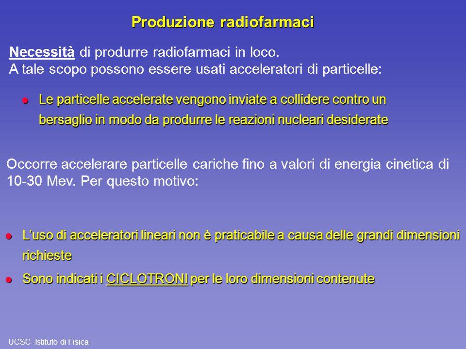 UCSC -Istituto di Fisica- Produzione radiofarmaci l Le particelle accelerate vengono inviate a collidere contro un bersaglio in modo da produrre le re