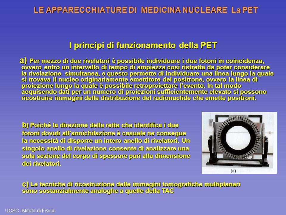 UCSC -Istituto di Fisica- LE APPARECCHIATURE DI MEDICINA NUCLEARE La PET