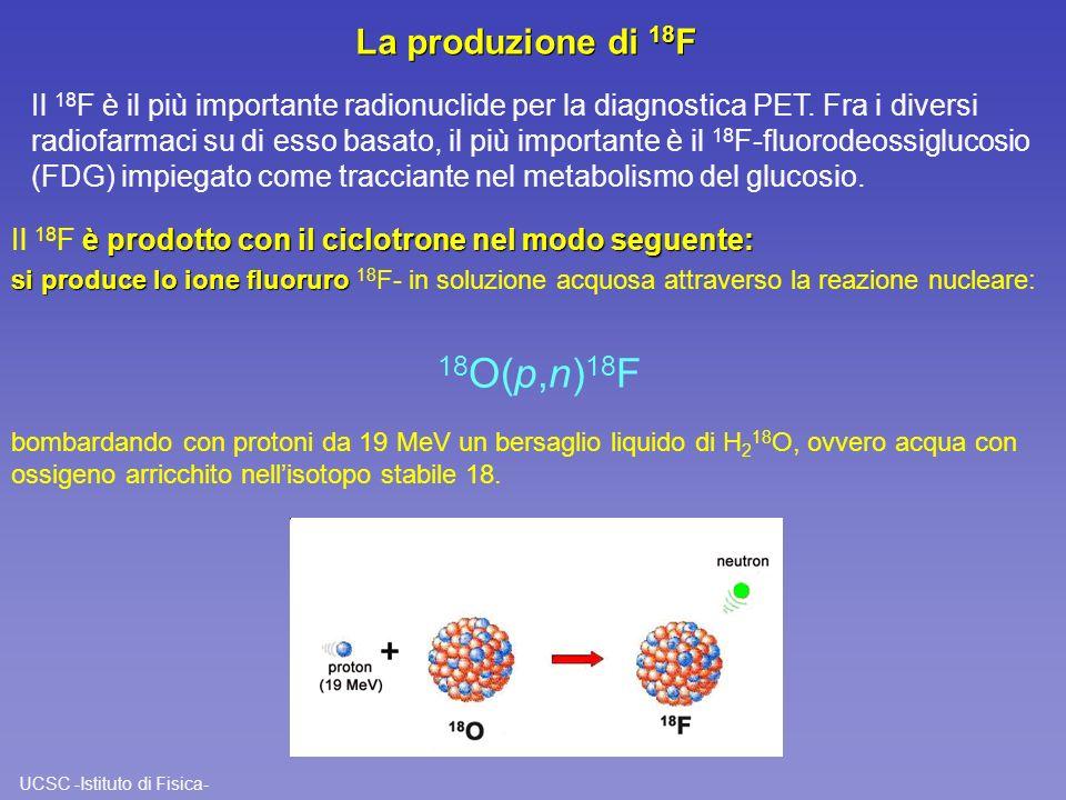 UCSC -Istituto di Fisica- La produzione di 18 F è prodotto con il ciclotrone nel modo seguente: Il 18 F è prodotto con il ciclotrone nel modo seguente