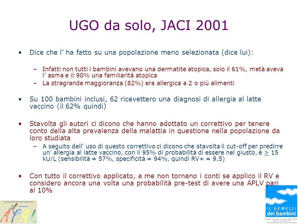 UGO da solo, JACI 2001 Dice che l ha fatto su una popolazione meno selezionata (dice lui): –Infatti non tutti i bambini avevano una dermatite atopica,