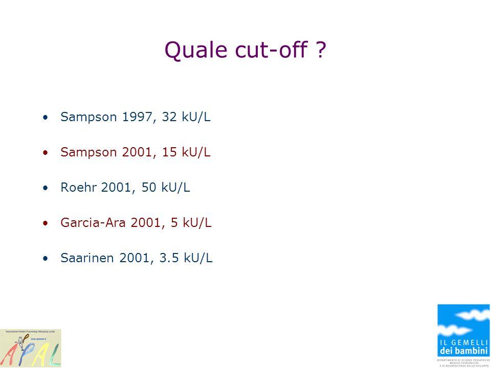 Quale cut-off ? Sampson 1997, 32 kU/L Sampson 2001, 15 kU/L Roehr 2001, 50 kU/L Garcia-Ara 2001, 5 kU/L Saarinen 2001, 3.5 kU/L