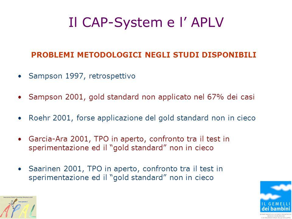 Il CAP-System e l APLV PROBLEMI METODOLOGICI NEGLI STUDI DISPONIBILI Sampson 1997, retrospettivo Sampson 2001, gold standard non applicato nel 67% dei