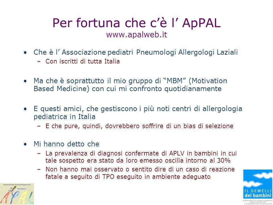 Per fortuna che cè l ApPAL www.apalweb.it Che è l Associazione pediatri Pneumologi Allergologi Laziali –Con iscritti di tutta Italia Ma che è soprattu