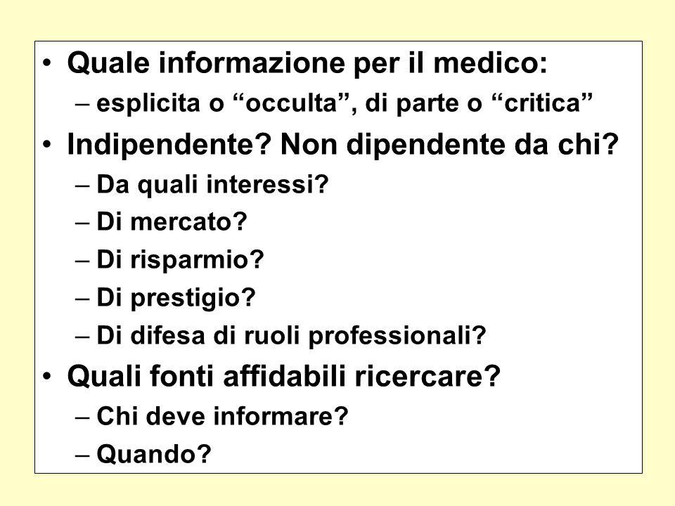 Quale informazione per il medico: –esplicita o occulta, di parte o critica Indipendente? Non dipendente da chi? –Da quali interessi? –Di mercato? –Di