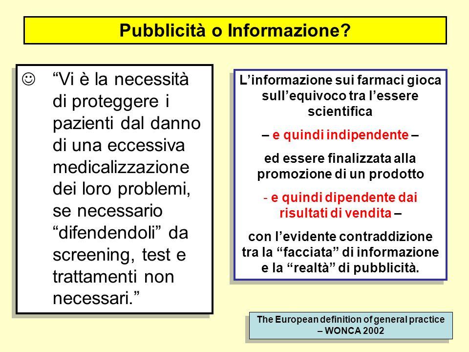Pubblicità o Informazione? Linformazione sui farmaci gioca sullequivoco tra lessere scientifica – e quindi indipendente – ed essere finalizzata alla p