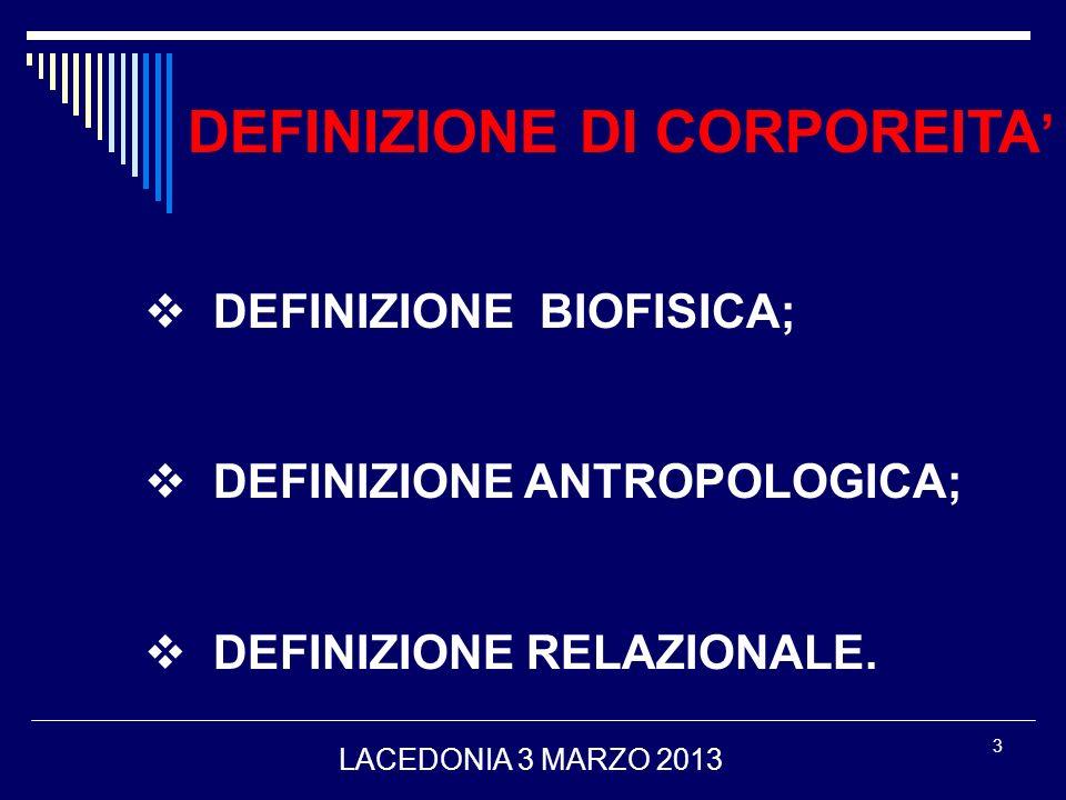 3 DEFINIZIONE DI CORPOREITA DEFINIZIONE BIOFISICA; DEFINIZIONE ANTROPOLOGICA; DEFINIZIONE RELAZIONALE. LACEDONIA 3 MARZO 2013