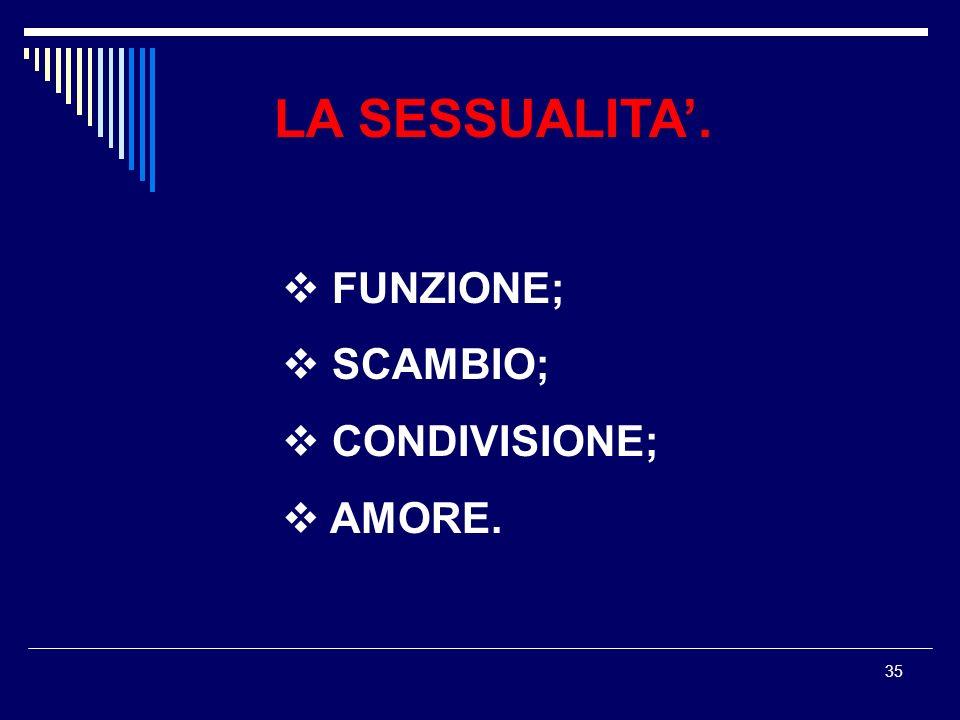35 LA SESSUALITA. FUNZIONE; SCAMBIO; CONDIVISIONE; AMORE.