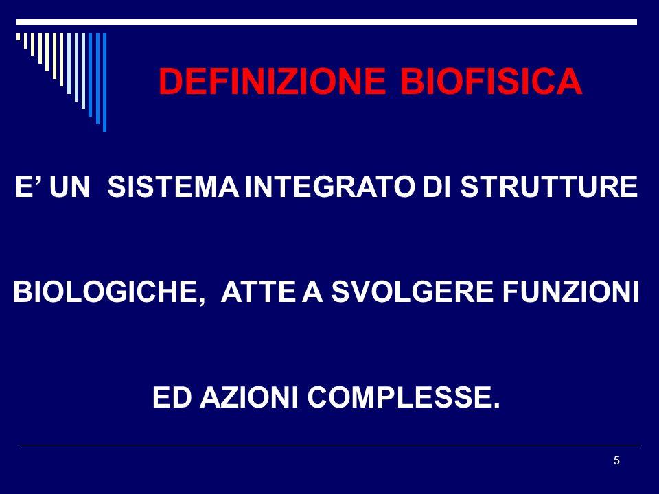 5 DEFINIZIONE BIOFISICA E UN SISTEMA INTEGRATO DI STRUTTURE BIOLOGICHE, ATTE A SVOLGERE FUNZIONI ED AZIONI COMPLESSE.