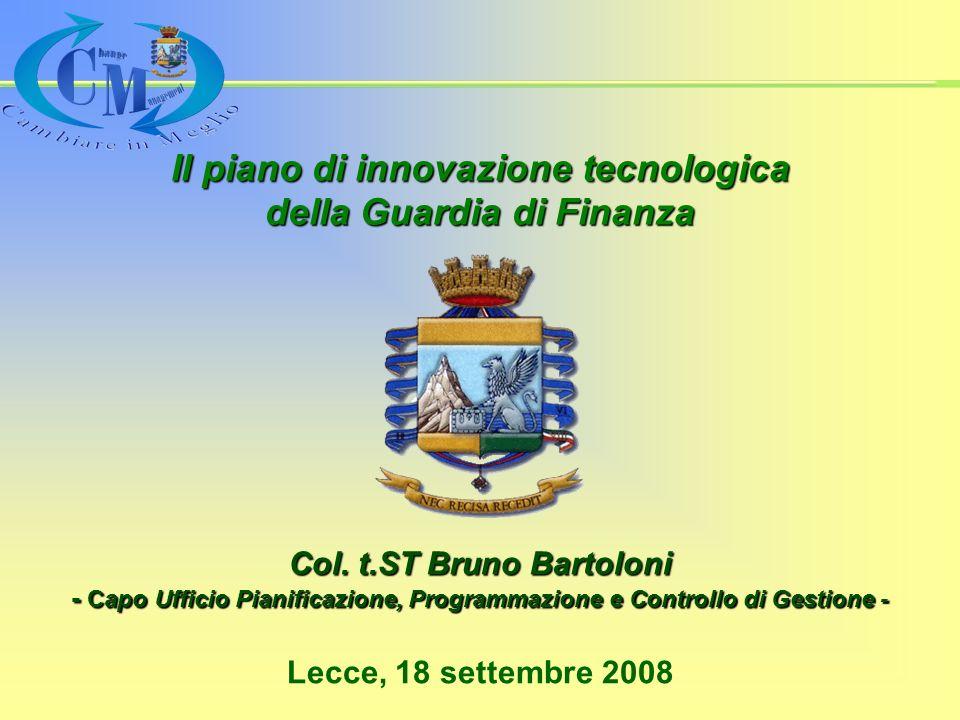 Il piano di innovazione tecnologica della Guardia di Finanza Lecce, 18 settembre 2008 Col.