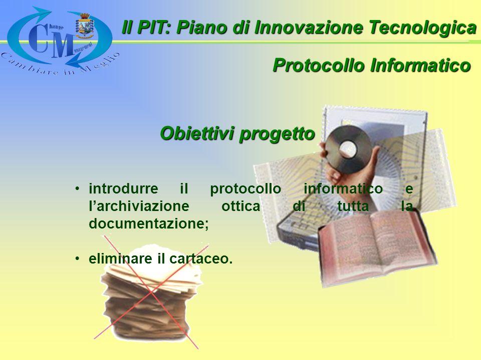 Protocollo Informatico introdurre il protocollo informatico e larchiviazione ottica di tutta la documentazione; eliminare il cartaceo.