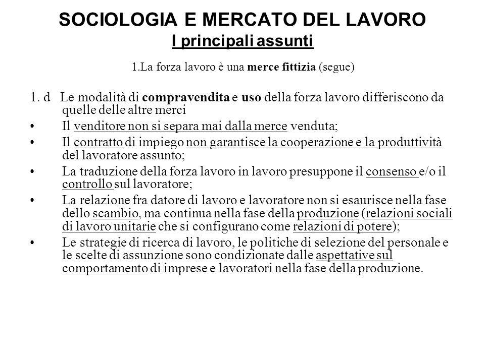 SOCIOLOGIA E MERCATO DEL LAVORO I principali assunti 1.La forza lavoro è una merce fittizia (segue) 1. d Le modalità di compravendita e uso della forz