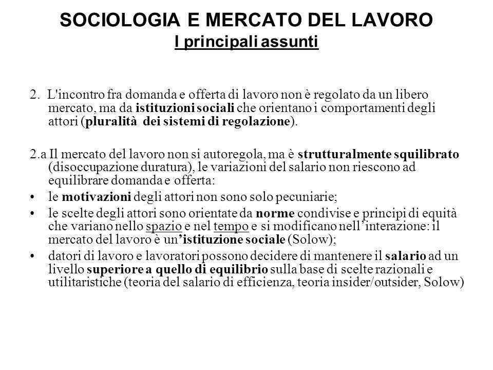 SOCIOLOGIA E MERCATO DEL LAVORO I principali assunti 2. L'incontro fra domanda e offerta di lavoro non è regolato da un libero mercato, ma da istituzi