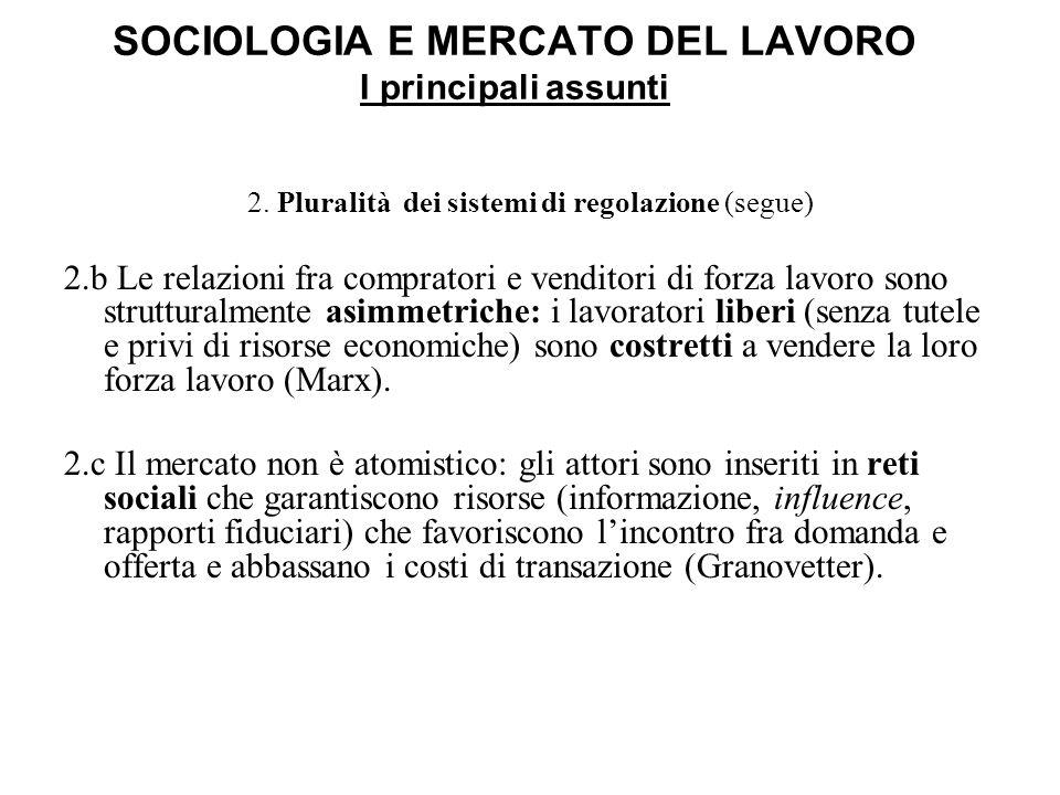 SOCIOLOGIA E MERCATO DEL LAVORO I principali assunti 2. Pluralità dei sistemi di regolazione (segue) 2.b Le relazioni fra compratori e venditori di fo