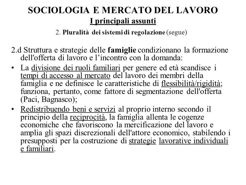 SOCIOLOGIA E MERCATO DEL LAVORO I principali assunti 2. Pluralità dei sistemi di regolazione (segue) 2.d Struttura e strategie delle famiglie condizio