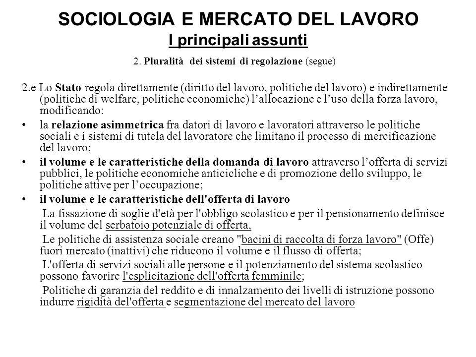 SOCIOLOGIA E MERCATO DEL LAVORO I principali assunti 2. Pluralità dei sistemi di regolazione (segue) 2.e Lo Stato regola direttamente (diritto del lav