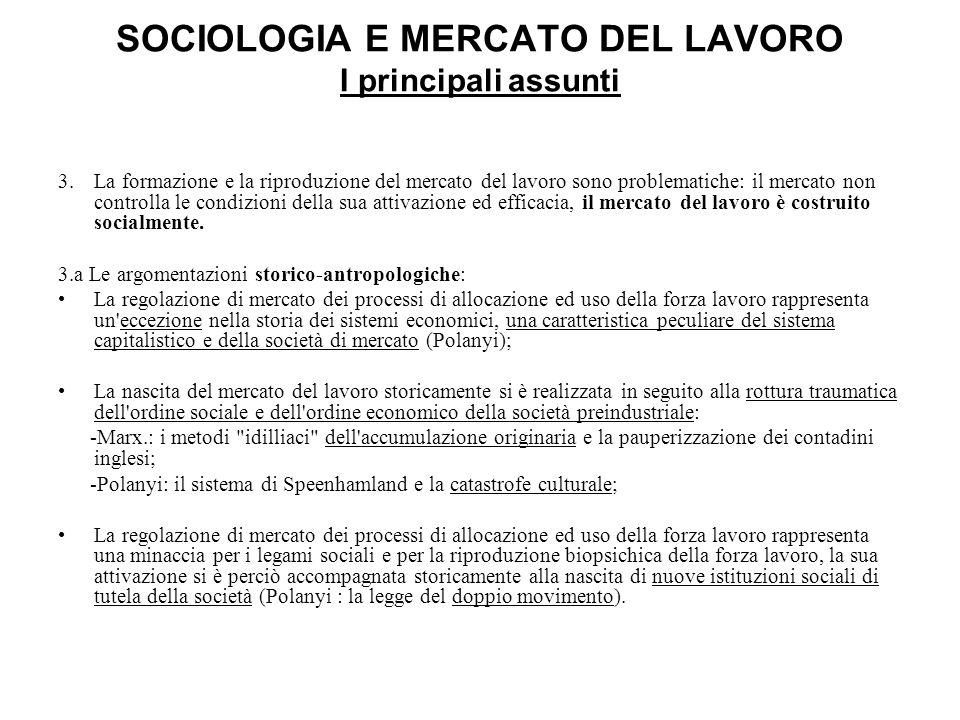 SOCIOLOGIA E MERCATO DEL LAVORO I principali assunti 3.La formazione e la riproduzione del mercato del lavoro sono problematiche: il mercato non contr