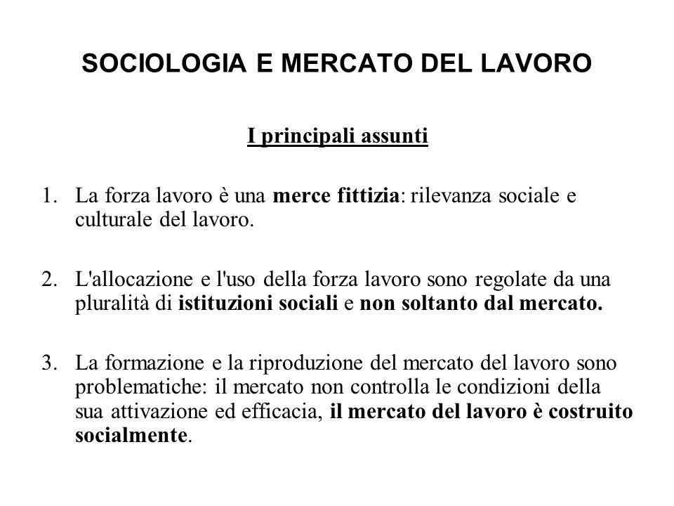 SOCIOLOGIA E MERCATO DEL LAVORO I principali assunti 1.La forza lavoro è una merce fittizia: rilevanza sociale e culturale del lavoro. 2.L'allocazione
