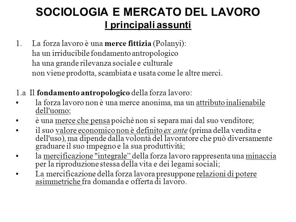 SOCIOLOGIA E MERCATO DEL LAVORO I principali assunti 1. La forza lavoro è una merce fittizia (Polanyi): ha un irriducibile fondamento antropologico ha