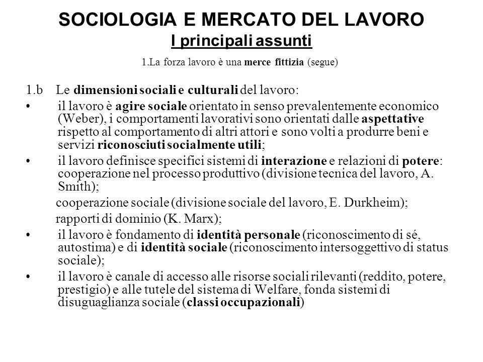 SOCIOLOGIA E MERCATO DEL LAVORO I principali assunti 1.La forza lavoro è una merce fittizia (segue) 1.b Le dimensioni sociali e culturali del lavoro: