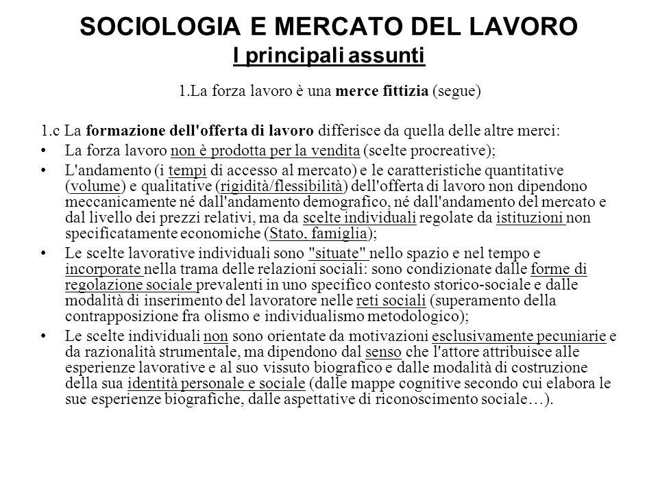 SOCIOLOGIA E MERCATO DEL LAVORO I principali assunti 1.La forza lavoro è una merce fittizia (segue) 1.c La formazione dell'offerta di lavoro differisc