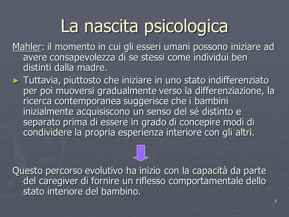 8 Funzione riflessiva Capacità preparata biologicamente di interpretare il comportamento di sé stessi e degli altri, in termini di stati mentali interni.