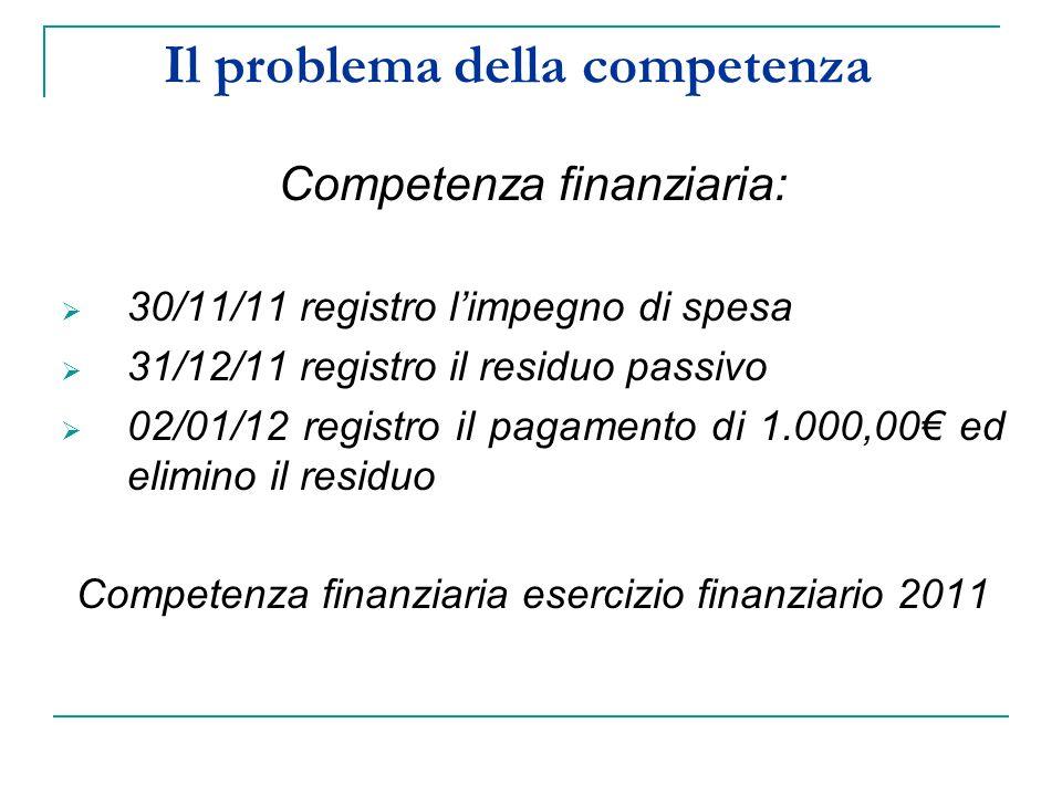 Il problema della competenza Competenza finanziaria: 30/11/11 registro limpegno di spesa 31/12/11 registro il residuo passivo 02/01/12 registro il pagamento di 1.000,00 ed elimino il residuo Competenza finanziaria esercizio finanziario 2011