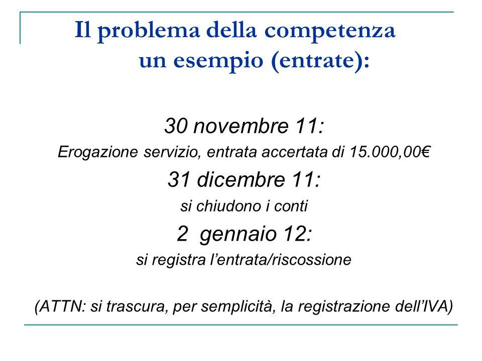 Il problema della competenza un esempio (entrate): 30 novembre 11: Erogazione servizio, entrata accertata di 15.000,00 31 dicembre 11: si chiudono i conti 2 gennaio 12: si registra lentrata/riscossione (ATTN: si trascura, per semplicità, la registrazione dellIVA)
