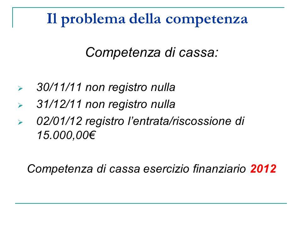 Il problema della competenza Competenza di cassa: 30/11/11 non registro nulla 31/12/11 non registro nulla 02/01/12 registro lentrata/riscossione di 15.000,00 Competenza di cassa esercizio finanziario 2012