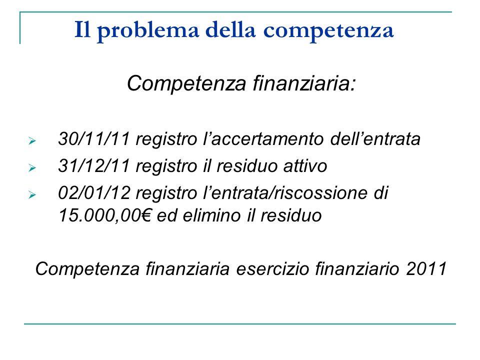 Il problema della competenza Competenza finanziaria: 30/11/11 registro laccertamento dellentrata 31/12/11 registro il residuo attivo 02/01/12 registro lentrata/riscossione di 15.000,00 ed elimino il residuo Competenza finanziaria esercizio finanziario 2011