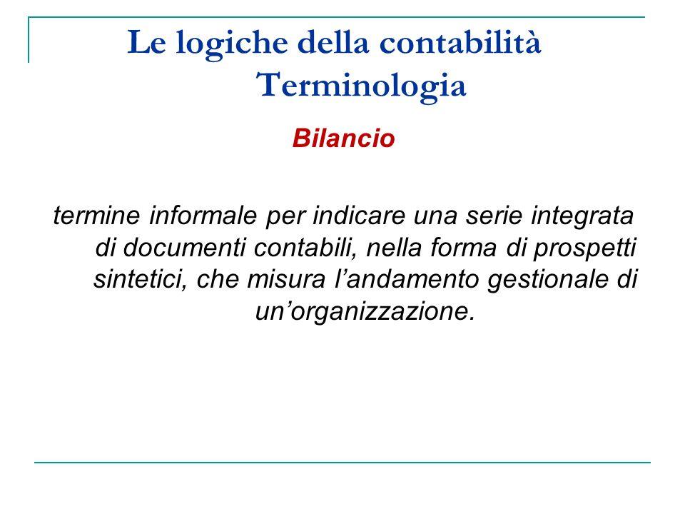 Le logiche della contabilità Terminologia Bilancio termine informale per indicare una serie integrata di documenti contabili, nella forma di prospetti sintetici, che misura landamento gestionale di unorganizzazione.