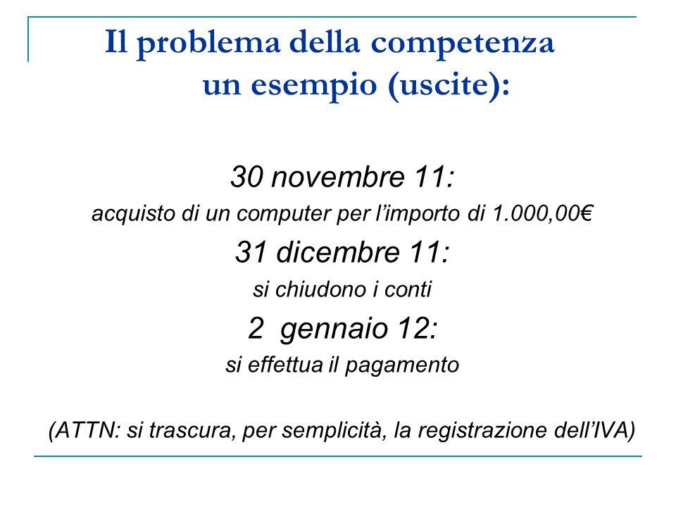 Il problema della competenza un esempio (uscite): 30 novembre 11: acquisto di un computer per limporto di 1.000,00 31 dicembre 11: si chiudono i conti 2 gennaio 12: si effettua il pagamento (ATTN: si trascura, per semplicità, la registrazione dellIVA)