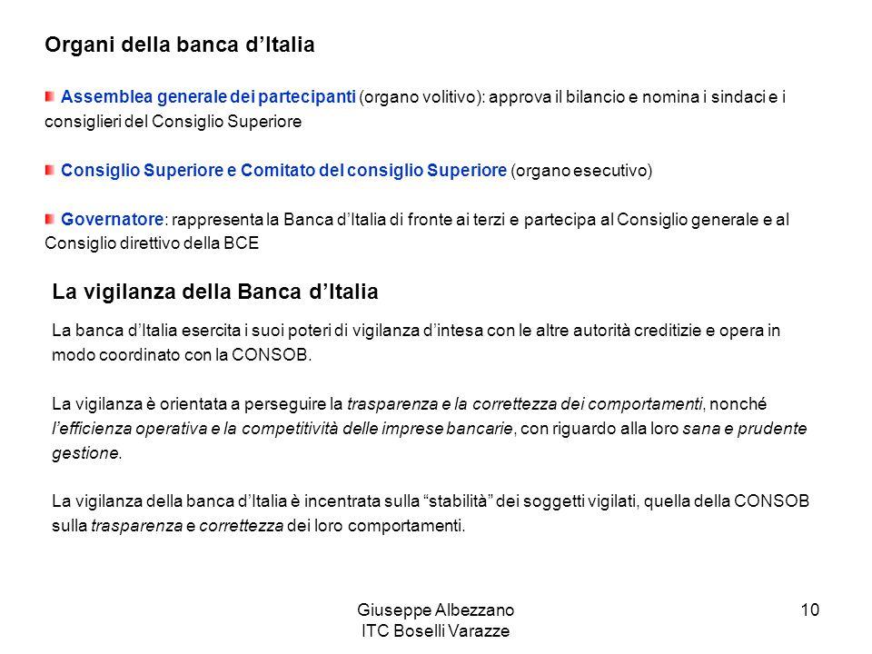 Giuseppe Albezzano ITC Boselli Varazze 10 Organi della banca dItalia Assemblea generale dei partecipanti (organo volitivo): approva il bilancio e nomi