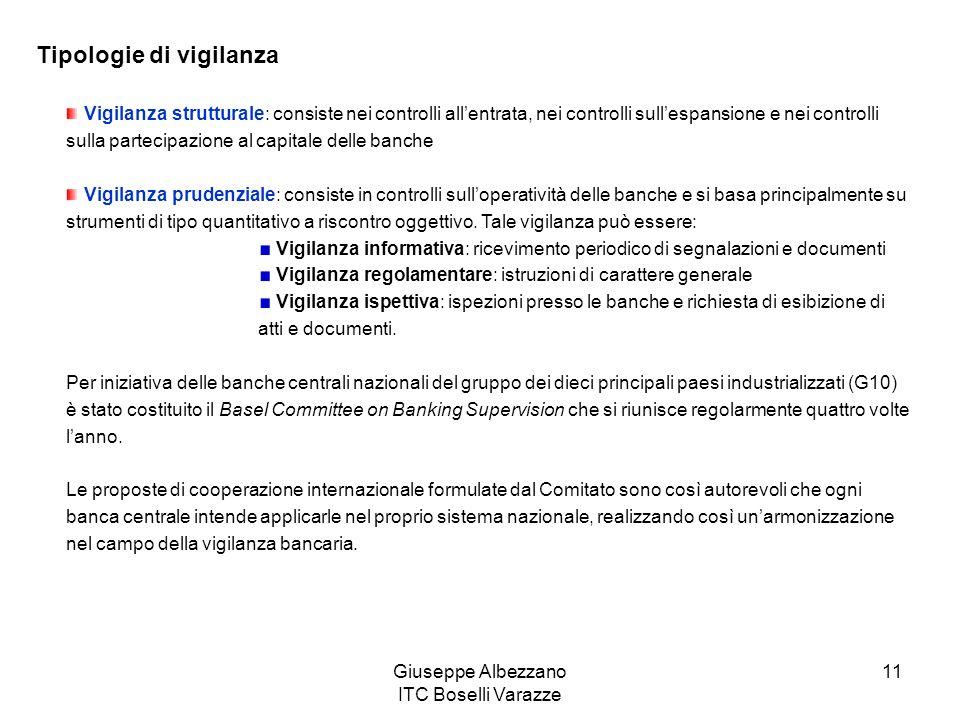 Giuseppe Albezzano ITC Boselli Varazze 11 Tipologie di vigilanza Vigilanza strutturale: consiste nei controlli allentrata, nei controlli sullespansion
