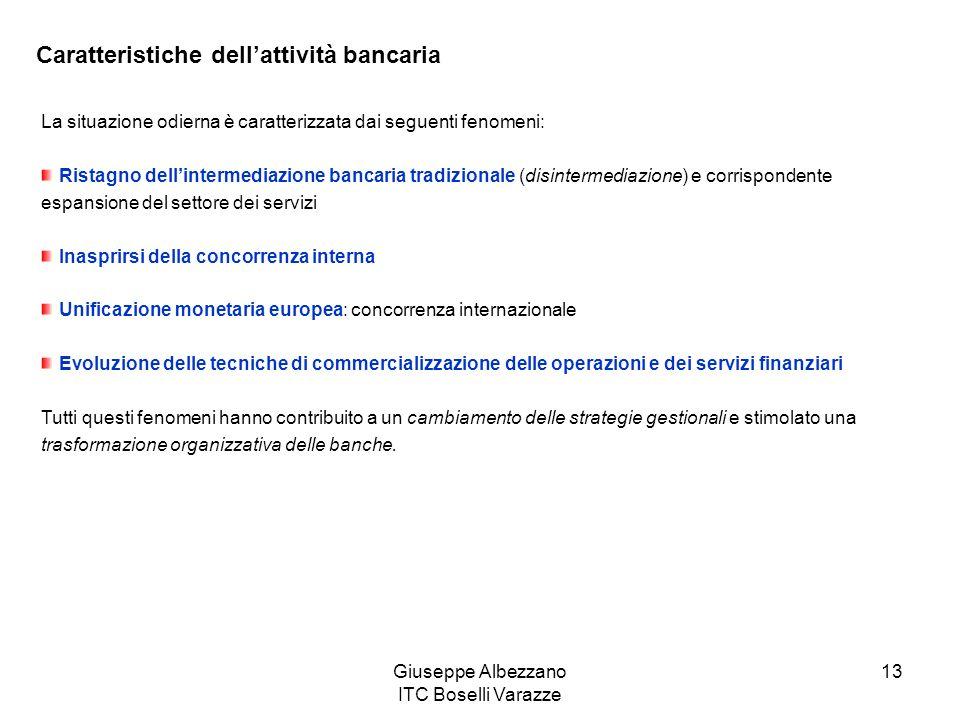 Giuseppe Albezzano ITC Boselli Varazze 13 Caratteristiche dellattività bancaria La situazione odierna è caratterizzata dai seguenti fenomeni: Ristagno