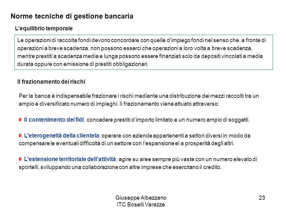 Giuseppe Albezzano ITC Boselli Varazze 23 Norme tecniche di gestione bancaria Lequilibrio temporale Le operazioni di raccolta fondi devono concordare